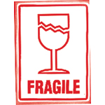 Fragile (With cracked glass symbol) Parcel Warning Labels 108mm x 79mm