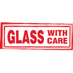 Glass With Care  Parcel Warning Label 148mm x 50mm